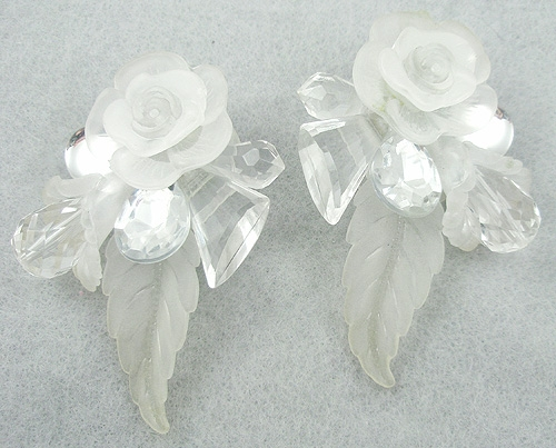 Newly Added Frosted Lucite Flower Collage Earrings