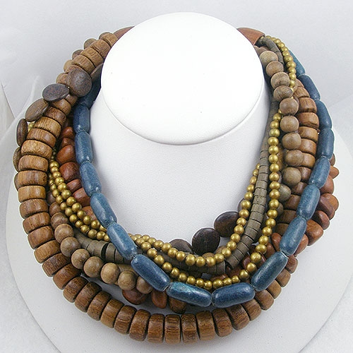 Newly Added Vintage Wooden Bead Torsade Necklace