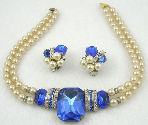 Newly Added Faux Pearl Blue Rhinestone Necklace Set