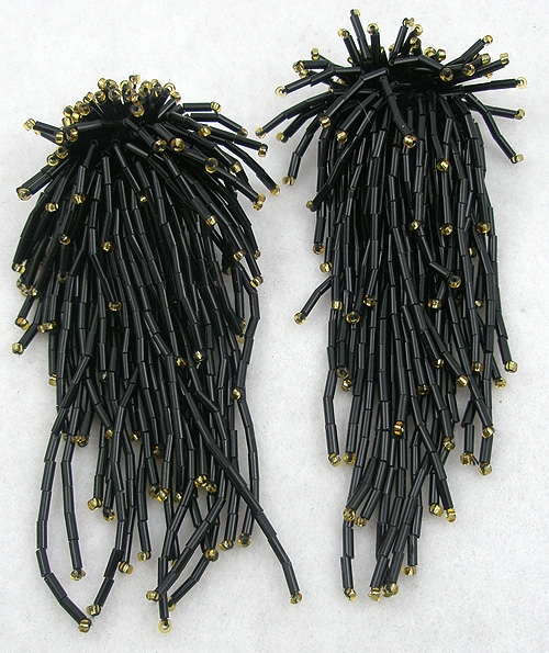Newly Added Black Bugle Bead Earrings