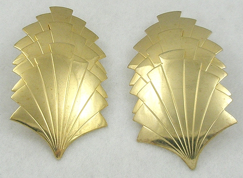 Newly Added Huge Gold Tone Fan Earrings