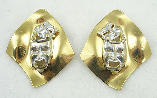 Newly Added Comedy Tragedy Mask Earrings