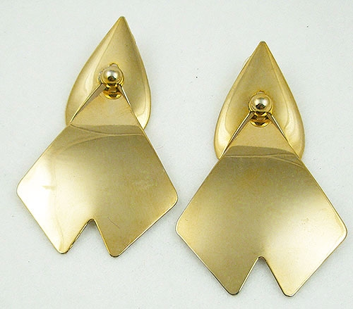 Newly Added 1980's Huge Gold Tone Dangling Earrings