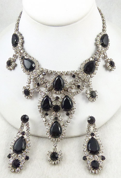 Newly Added Dominique Black Rhinestone Necklace Set
