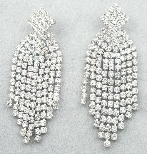 Newly Added Rhinestone Long Fringe Earrings