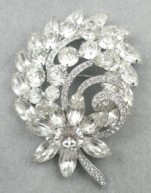 Newly Added Eisenberg Ice Rhinestone Floral Brooch
