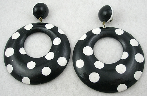 Black And White Polka Dot Hoop Earrings Garden Party Collection Vintage Jewelry