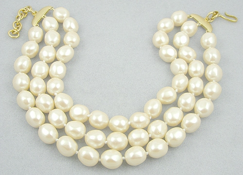 Newly Added Monet Triple Strand Pearl Necklace