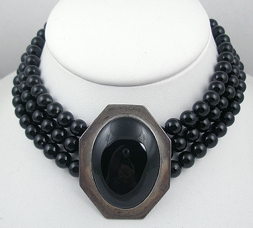 Newly Added Elizabeth Whitman Navajo Sterling & Onyx Bead Necklace