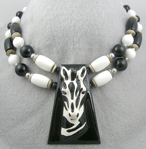 Newly Added 1980's Black and White Bead Zebra Necklace