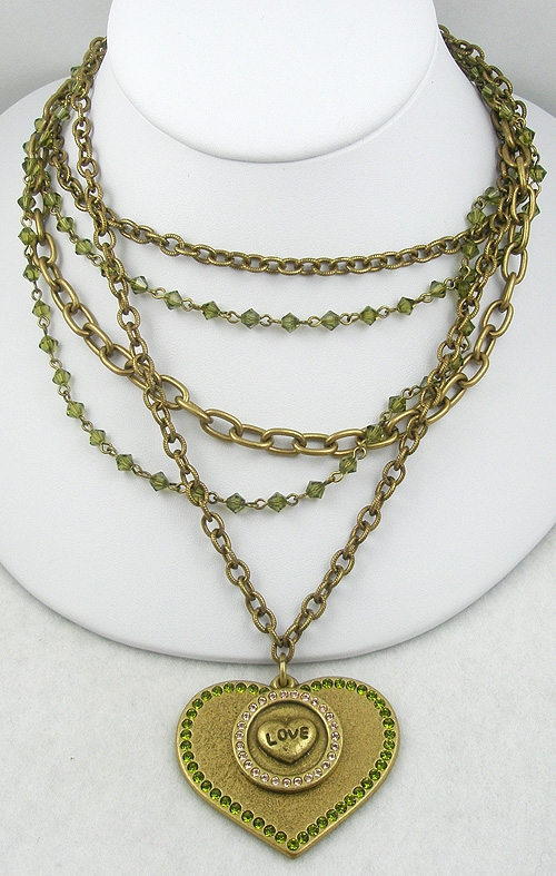Newly Added Sisi Amber Brass Heart Necklace