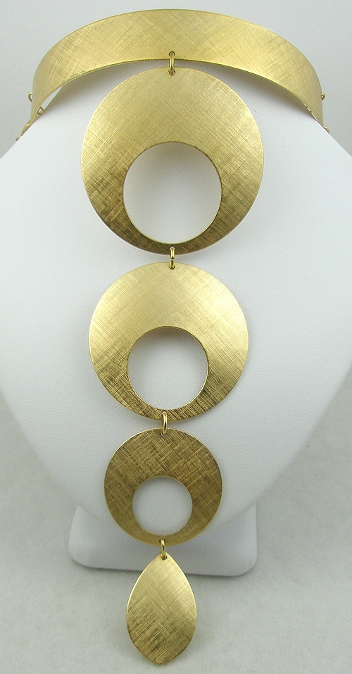 Newly Added Napier 1970's Gold Circles Collar Necklace