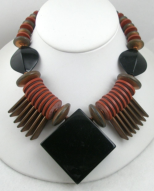 Newly Added Chunky Black, Rust & Copper Bead Necklace