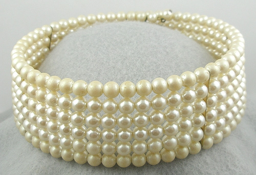Newly Added Faux Pearl Memory Wire Choker Necklace