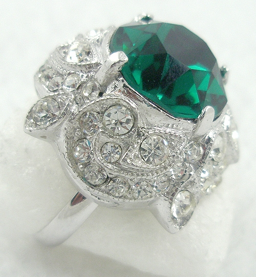 Newly Added Eisenberg Emerald Rhinestone Ring