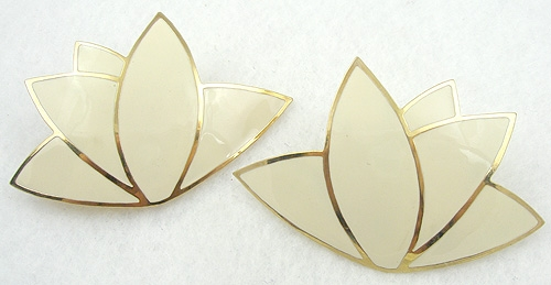 Newly Added Lawrence Bott Ivory Enamel Lotus Earrings
