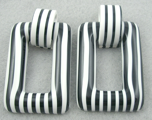 Newly Added Black & White Striped Lucite Rectangle Earrings