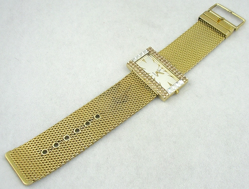Newly Added JC Crystal Rhinestone Gold Mesh Watch