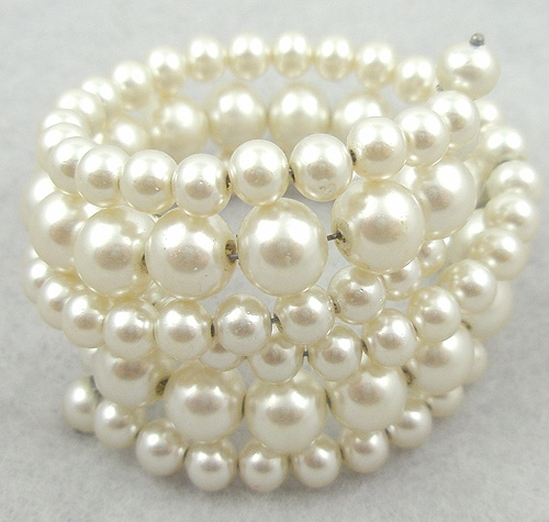 Newly Added Faux Pearl Memory Wire Wrap Bracelet