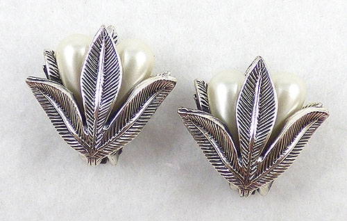 Newly Added Tortolani Silver Leaf Pearl Earrings
