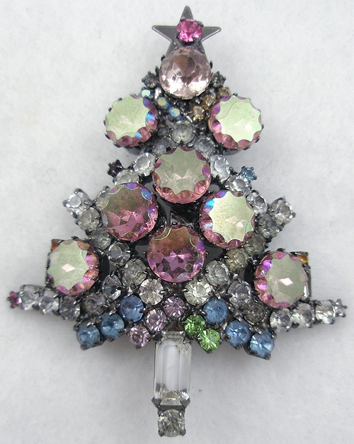 Newly Added Pink Scalloped Aurora Christmas Tree Brooch