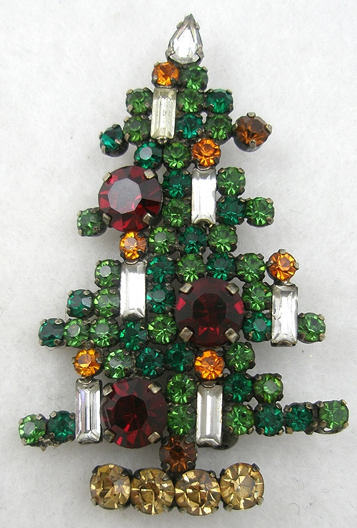 Newly Added Austria 6-Candle Rhinestone Christmas Tree Brooch