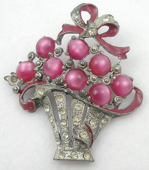 Newly Added Pink Moonglow Flower Basket Brooch