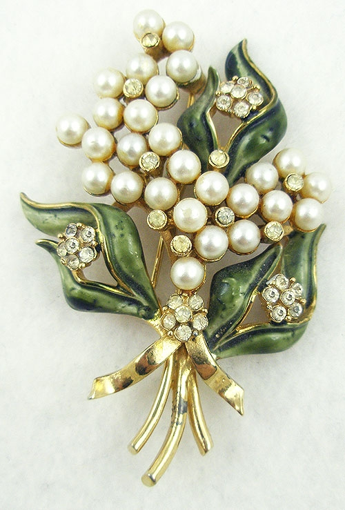 Newly Added Francois (Coro) Enameled Pearl Floral Brooch