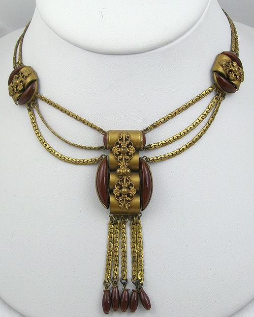 Newly Added Art Nouveau Brass Filigree Festoon Necklace