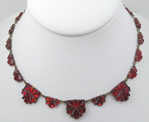 Newly Added Czech Art Deco Red Vauxhall Glass Necklace