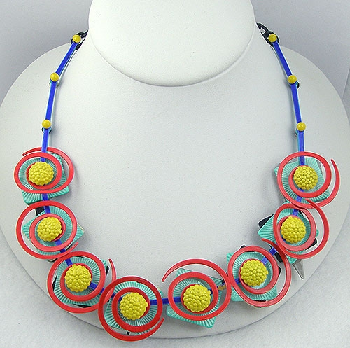 Newly Added Eve Kaplin Designs Enameled Mechanical Necklace
