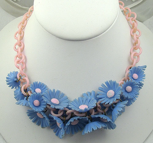Newly Added Blue Celluloid Daisy Necklace