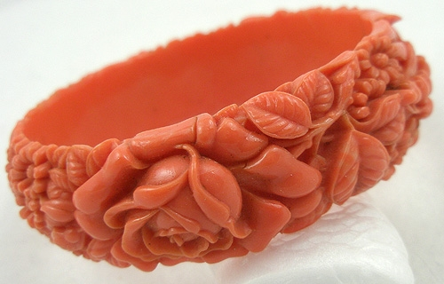 Newly Added Coral Celluloid Floral Bangle