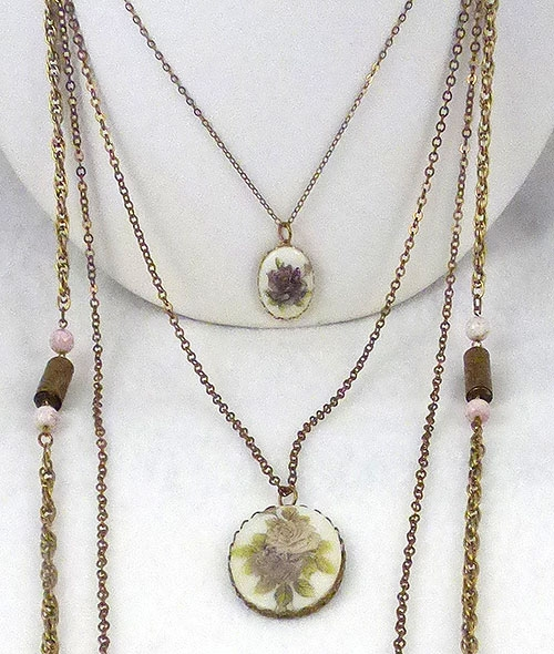 Newly Added Multiple Chains Porcelain Florals Necklace