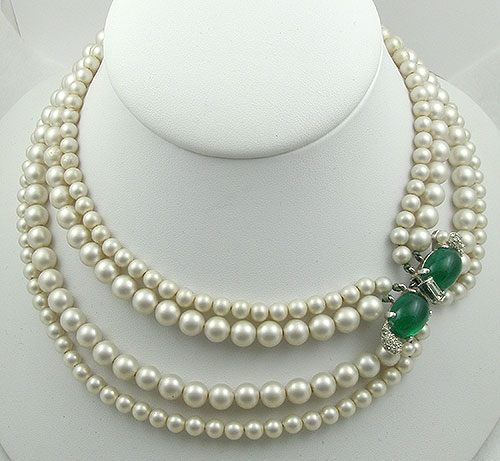 Newly Added Marvella Pearl Necklace with Emerald Glass Clasp