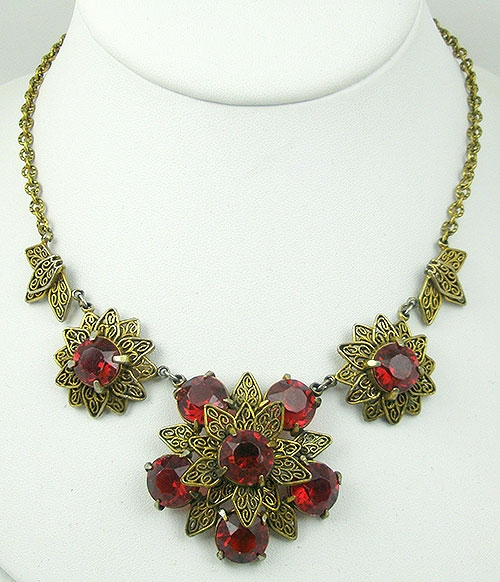 Newly Added Filigree Flowers Red Rhinestone Necklace