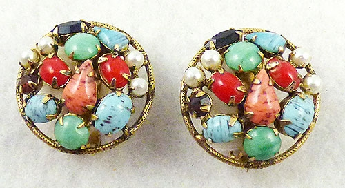 Newly Added Schreiner Glass Cabochon Earrings