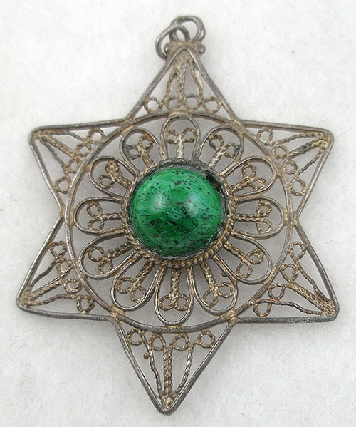 Newly Added Israeli Sterling Filigree Sat of David Pendant