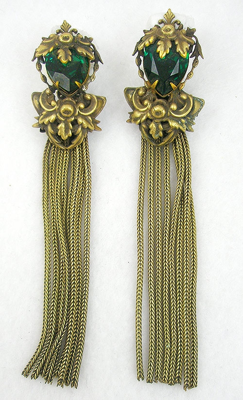 Newly Added Joseff Emerald Green Tassel Earrings