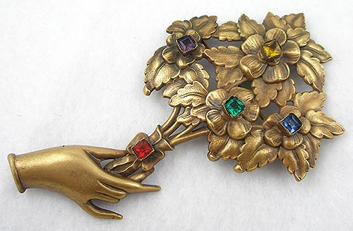 Newly Added Joseff of Hollywood Hand Holding Bouquet Brooch