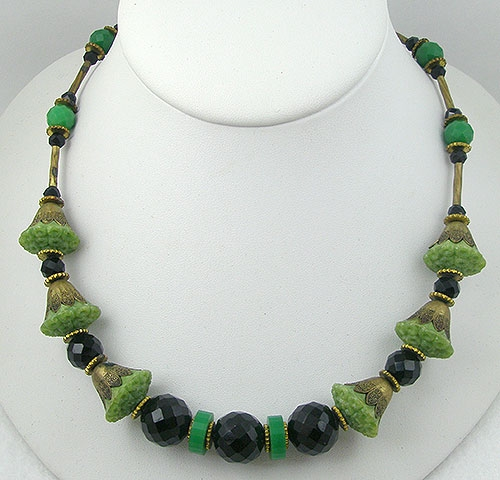 Newly Added Czech Art Deco Galalith Bead Necklace