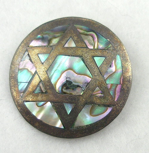 Newly Added Taxco Sterling Silver Abalone Star of David Brooch