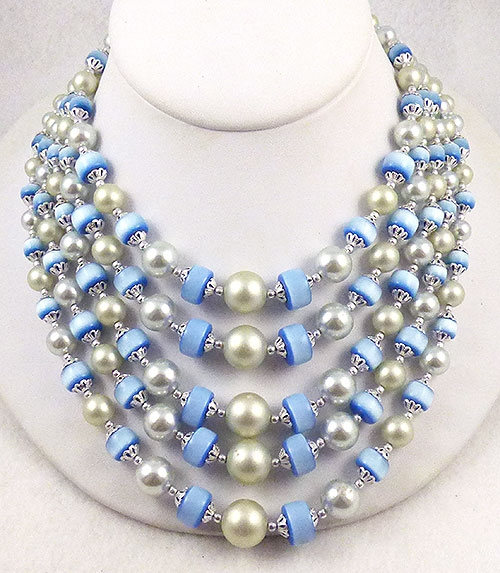 Newly Added Japan Blue Moonglow and Pearl Necklace