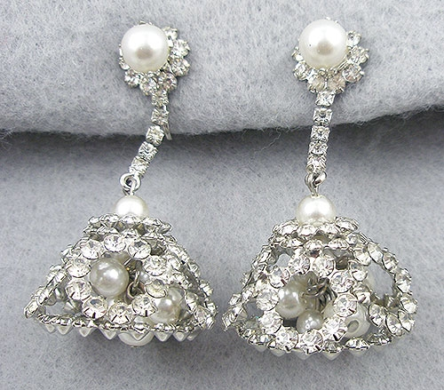 Newly Added Vintage Rhinestone & Pearl Chandelier Earrings