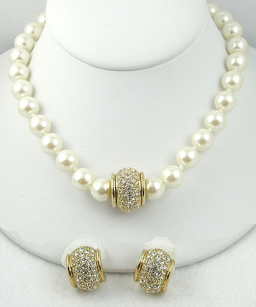 Newly Added Swarovski Simulated Pearl Necklace Set
