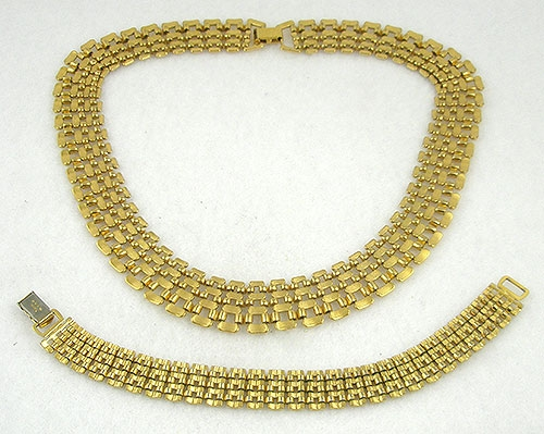 Napier Gold Mesh Necklace Bracelet Set Garden Party