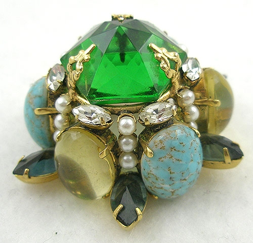 Newly Added Schreiner Domed Glass Stones Brooch