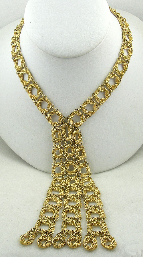 Newly Added Monet Long Gold Tone Links Necklace