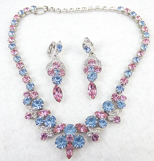 Newly Added Eisenberg Ice Blue & Pink Rhinestone Necklace Set