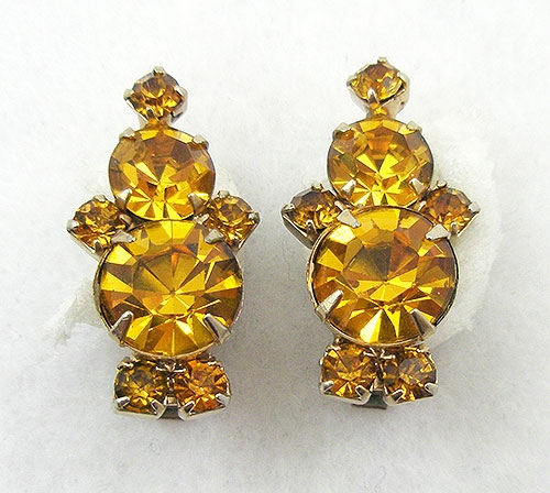 Newly Added Vintage Golden Topaz Rhinestone Earrings